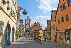 Plonlein i Rothenburg obder Tauber Arkivfoton