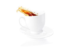 Plons van koffie Stock Afbeeldingen