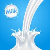 Plonsen van melk Vector illustratie Stock Foto's