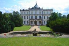 Ploskovice palace. Entrance facade of the Ploskovice palace stock image