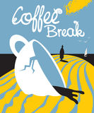 The plot about broken Cup of coffee and a person vector illustration
