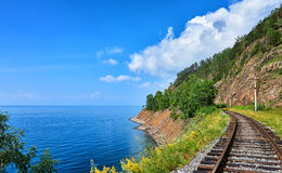 Plot Circum-Baikal railway near steep bank of Lake Baikal stock photography