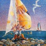 Artwork. Beach still life. Author: Nikolay Sivenkov. royalty free illustration