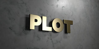 Plot - Gold sign mounted on glossy marble wall - 3D rendered royalty free stock illustration. This image can be used for an online website banner ad or a print royalty free illustration