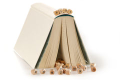 Plot - message spelled in wooden letters on top of a story book Royalty Free Stock Images