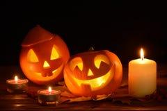 Plot-o-lanterne effrayante de potirons de veille de la toussaint photos stock