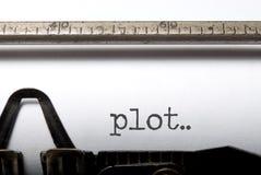 Plot. Printed on a vintage typwriter Stock Photo
