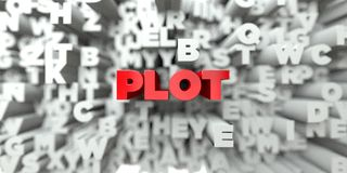 PLOT -  Red text on typography background - 3D rendered royalty free stock image Royalty Free Stock Images