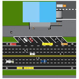 Plot road, highway, street, with the store. With different cars. Royalty Free Stock Images