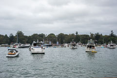 The Plot 2016. SYDNEY,NSW,AUSTRALIA-NOVEMBER 19,2016: Nautical vessels gathering in Farm Cove for view of The Plot 2016 music festival at Parramatta Park in Stock Images