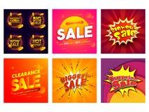 Plotseling of het malplaatje of de affiche van de seizoenverkoop in zes verschillende stijlen royalty-vrije illustratie