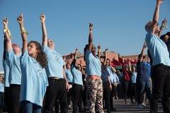 Plotseling-menigte dansprotest Stock Foto's