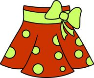 Plotseling rode rok met stippen en lichtgroene riem en boog royalty-vrije illustratie