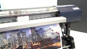 Plottarprinting för CMYK Roland Soljet i typografi stock video