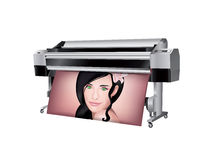 Plotter with beautiful girl printed Stock Photography