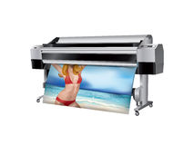 Plotter with bikini girl. Printed Royalty Free Stock Image