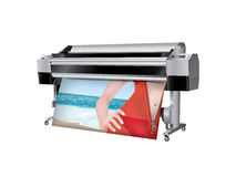 Plotter with bikini girl in trasparent robes Stock Image