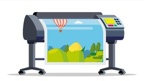Plotter, Printer Vector. Large Format Multifunction Printer. Polygraphy, Printshop Service. Isolated Flat Cartoon. Plotter, Printer Vector. Large Format royalty free illustration