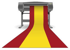 Plotter printing large spain flag. Plotter printing a large spain flag. Inkjet printer with a large format. ploter Stock Photography