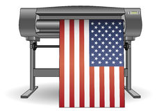 Plotter printing USA flag Stock Images