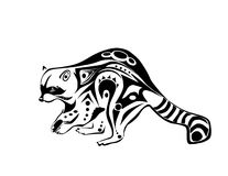 Plotting Raccoon. A Tribal style raccoon who is plotting some mischief, inspired by a variety of tribal art Royalty Free Stock Photo