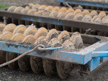 Plough. Big iron plough in the yard Stock Image