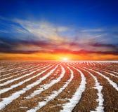 Plough-land λιβάδι με τις σειρές χιονιού Στοκ Εικόνες