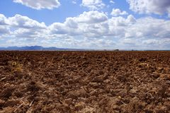 Plough plowed brown clay field blue sky horizon Royalty Free Stock Image