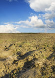 Plough plowed brown clay soil field Stock Photography