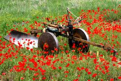 Plough and poppies. Image of a plough (plow) in a poppies field during spring Royalty Free Stock Photo