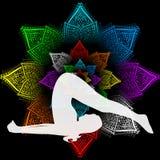 The plough pose. Illustration with a beautiful girl on a yoga theme - halasana Pose Stock Image