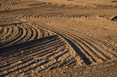 Ploughed cultivated farm field soil background Stock Images