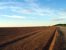 Ploughed field. The ploughed field is stretched to horizon Stock Image