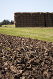 Ploughed field. And a haystack Stock Photography