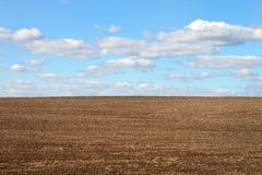 Ploughed field and cloudy sky Royalty Free Stock Image