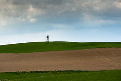 Ploughed field in countryside Stock Images