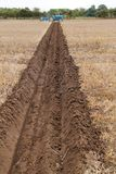 Ploughed Field Furrow. Royalty Free Stock Photography