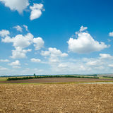 Ploughed field and light clouds Royalty Free Stock Photo