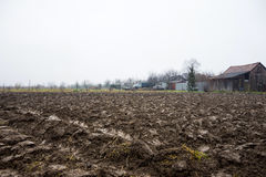 Ploughed field ready for new crops Stock Photo