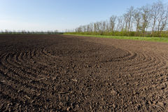 Ploughed field. Spring scene in central Ukraine Royalty Free Stock Photography
