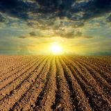 Ploughed field sunset Stock Photos