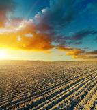 Ploughed field and sunset Stock Images