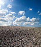 Ploughed field under blue sky Stock Photo