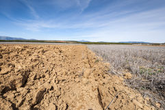 Ploughed and stubble fields Stock Photos