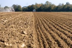 Ploughing and sowing Royalty Free Stock Images
