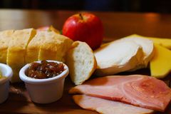 Ploughman`s lunch in a pub Royalty Free Stock Photography
