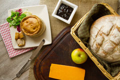 Ploughman's Lunch Spread from above Royalty Free Stock Image