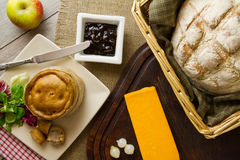 Ploughman's Lunch Spread overhead Royalty Free Stock Images