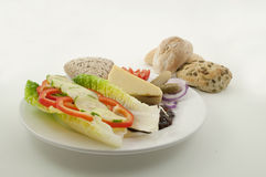 Ploughmans lunch, assorted bread rolls Royalty Free Stock Photo