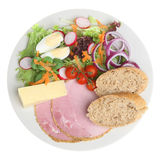 Ploughmans Lunch with Cheddar Cheese. Ploughman's lunch with cheddar cheese and ham Stock Photo